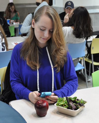 Student in dining commons