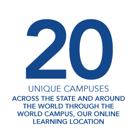 20 Unique Campuses: across the state and around the world through the world campus, out online learning location.