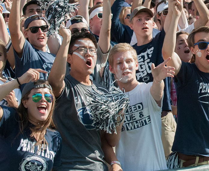 Penn State student cheer on their team at Beaver Stadium.
