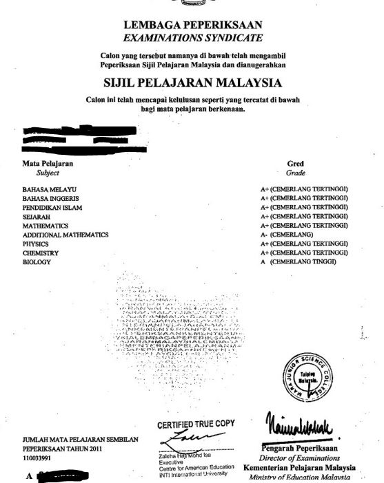 sijil pelajaran malaysia spm sample transcript undergraduate admissions penn state undergraduate admissions